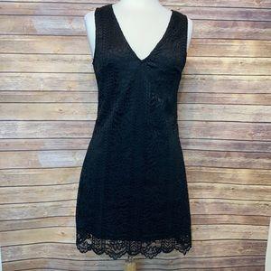 Lulus Black V Neck Lace Dress
